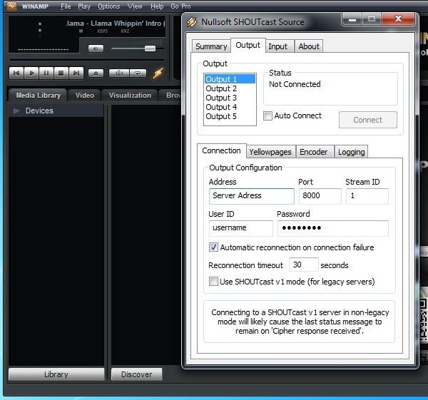 Winamp encoder setup